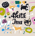 cute dogs design childish background akita inu vector image