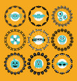 cute halloween circle border pattern emblems set vector image