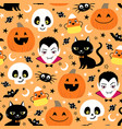cute halloween holiday seamless pattern vector image