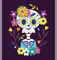 day dead skeleton flowers festive vector image
