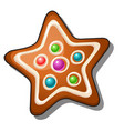 delicious gingerbread in shape a star vector image