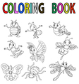Funny cartoon insect coloring book vector image vector image