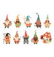gnome characters cute festive dwarfs vector image