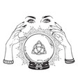 hand drawn magic crystal ball with triquetra vector image vector image