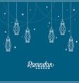 hanging islamic lantern decorative ramadan kareem vector image