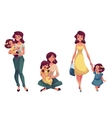Happy mother holding hugging and walking with her vector image vector image