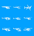 helicopter military icons set simple style vector image