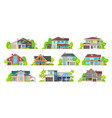 house home cottage building icons real estate vector image vector image