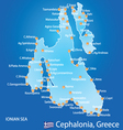 Island of Cephalonia in Greece map vector image vector image