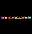 monster colorful silhouette head face icon set vector image vector image