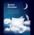 night dream pillow advertizing poster with vector image