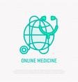 online medicine thin line icon vector image