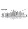 outline singapore city skyline with modern vector image