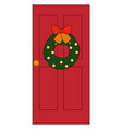 red home door on white background vector image