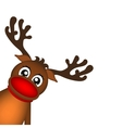 Reindeer peeking sideways on a white background vector image vector image