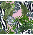 Seamless zebra skin pattern with tropical leaves