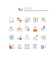 set line icons entertainment business vector image