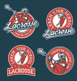Set of lacrosse team emblems vector image