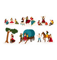 set of lifestyle scenes with gypsies or romani vector image