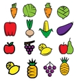 Sketch colorful fresh vegetables and fruits vector image