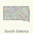 South Dakota line art map vector image vector image