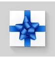 Square Gift Box with Blue Ribbon Bow on Background vector image vector image
