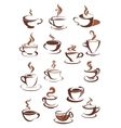 Steaming coffee cups vector image