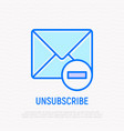 unsubscribe thin line icon envelope with minus vector image vector image