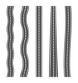 vertical seamless roads on white background set vector image vector image