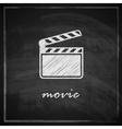vintage with film clapboard sign on blackboard vector image vector image