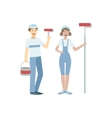 Two Volunteers With Painting Rolls vector image