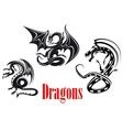 Black danger dragons vector image