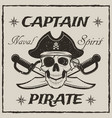 pirate captain skull and crossed swords vector image