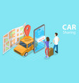 3d isometric flat concept car sharing vector image vector image