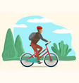 active man riding bicycle in spring forest or park vector image vector image