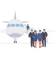 airline cabin crew pilot and stewardess in face vector image vector image