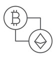 bitcoin vs ethereum thin line icon finance money vector image vector image