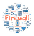 blue round firewall concept vector image vector image