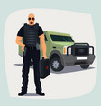 cash and valuables in transit guard man vector image