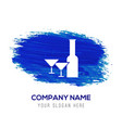 champagne bottles icon - blue watercolor vector image