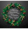 Christmas wreath with garlands vector image vector image