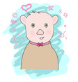 cute bear cartoon hand drawn style vector image