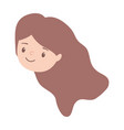 cute girl face character cartoon isolated design vector image vector image
