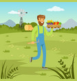 farmer man carrying a basket full of fresh vector image vector image