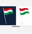 flag hungary in wind on flagpole isolated vector image