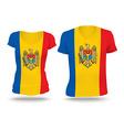 Flag shirt design of Moldova vector image vector image