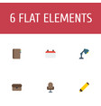 flat icons date suitcase desk light and other vector image vector image