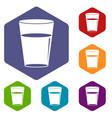 glass water icons set hexagon vector image vector image