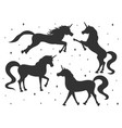 hand drawn cartoon unicorn silhouettes set vector image