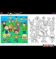 happy children characters coloring book vector image vector image